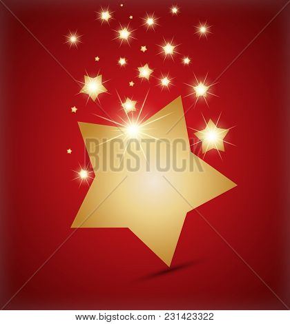 Golden Star On Red Background. Creative Vector Illustration