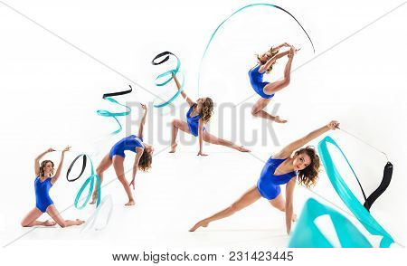The Collage From Images Of Beautiful Young Brunette Woman - Female Gymnast Training Calilisthenics E