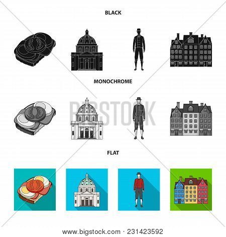 Denmark, History, Restaurant, And Other  Icon In Black, Flat, Monochrome Style.sandwich, Food Bread