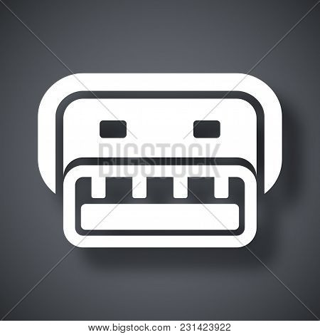 Vector Usb Connector Icon On Dark Gray Background With Shadow