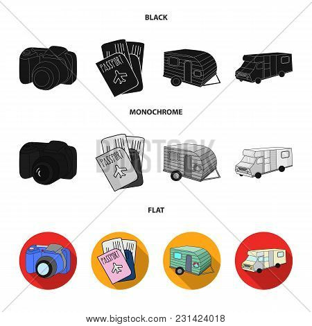 Vacation, Photo, Camera, Passport .family Holiday Set Collection Icons In Black, Flat, Monochrome St