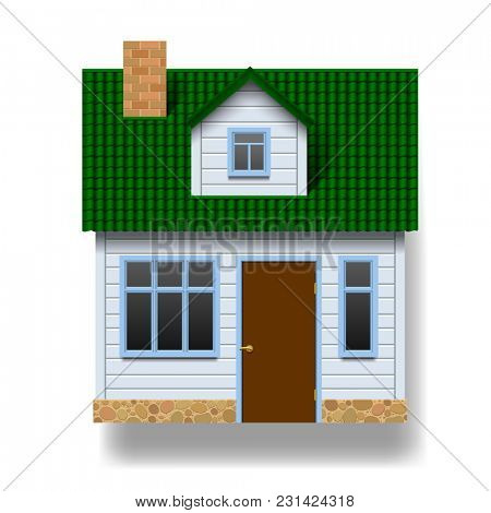 White realistic house with green roof in front view