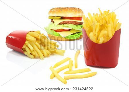 Composite Image Of Fast Food Products - French Fries In Red Carton Boxes And Big Hamburger Isolated