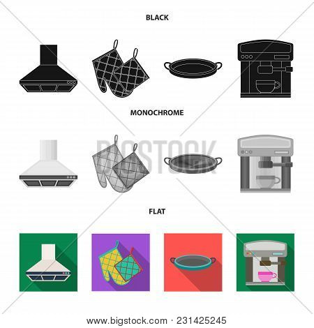 Kitchen Equipment Black, Flat, Monochrome Icons In Set Collection For Design. Kitchen And Accessorie