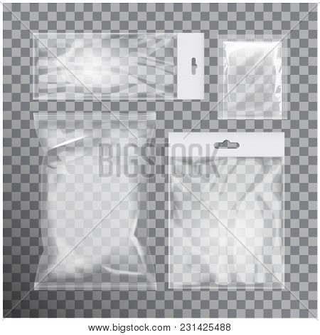 Set Of Blank Transparent Foil Bag Packaging For Food, Snack, Coffee, Cocoa, Sweets, Crackers, Chips,