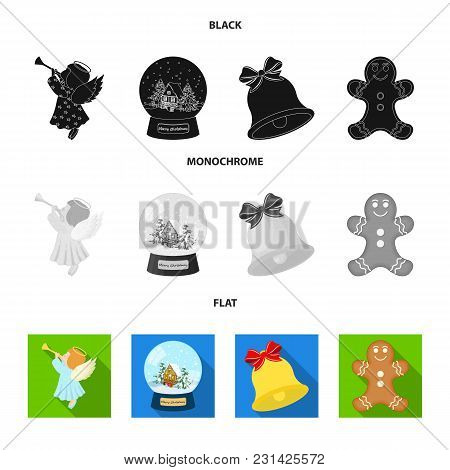 Angel, Glass Bowl, Gingerbread And Bell Black, Flat, Monochrome Icons In Set Collection For Design.