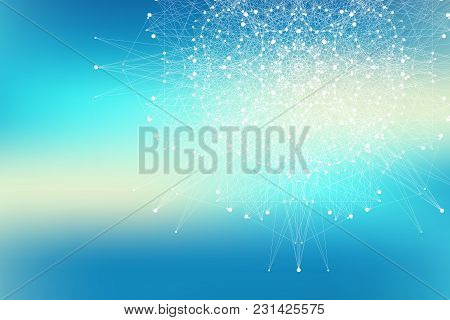 Fractal Element With Connected Lines And Dots. Big Data Complex. Virtual Background Communication Or