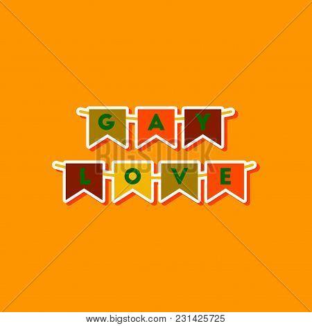 Paper Sticker On Stylish Background Gays Love Garland
