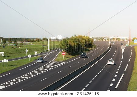 Miltilane Highway With A Toll Payment Point