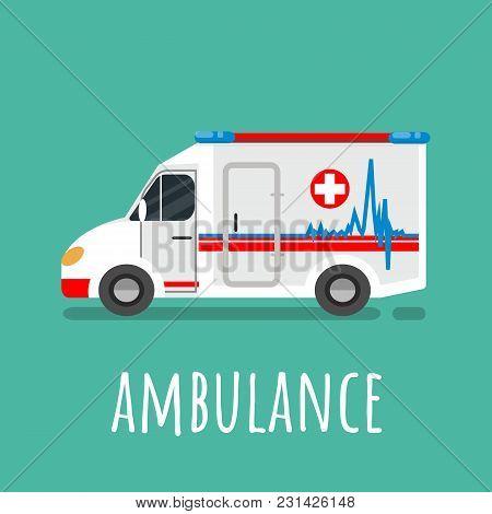 Ambulance Vehicle Isolated Icon. Ambulance Flat Vector Illustration