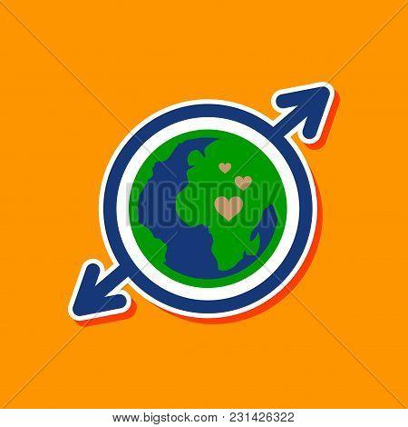 Paper Sticker On Stylish Background Gays Earth Symbol