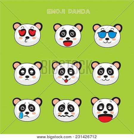 Panda Bear Emoji, Panda Smile Icons Set, Vector, Cartoon, Design, Color