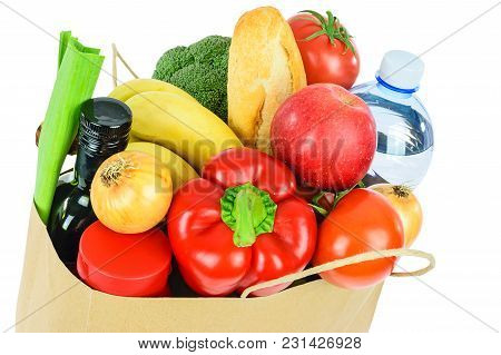 Grocery Shopping Concept Image - Eco Friendly Paper Shopping Bag Filled With Various Food Products I