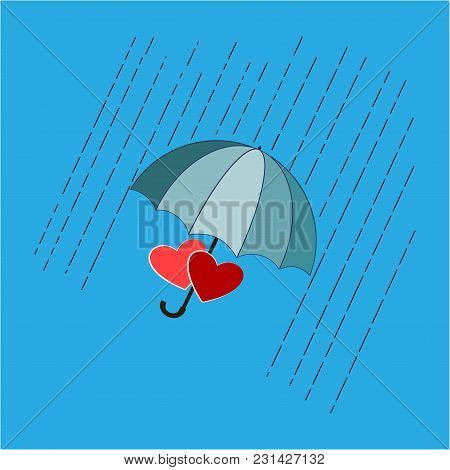 Heart And Rain T Shirt. Umbrella And Rain Sign. Parasol For Heart Isolated On Blue Background. Roman
