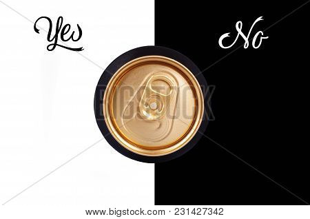 Abstract Close Up Of Top Of The Beer Can With Text