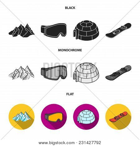 Mountains, Goggles, An Igloo, A Snowboard. Ski Resort Set Collection Icons In Black, Flat, Monochrom