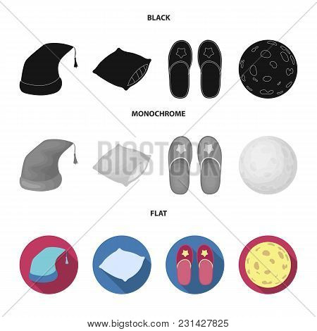Night Cap, Pillow, Slippers, Moon. Rest And Sleep Set Collection Icons In Black, Flat, Monochrome St