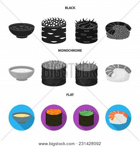 Bowl Of Soup, Caviar, Shrimp With Rice. Sushi Set Collection Icons In Black, Flat, Monochrome Style