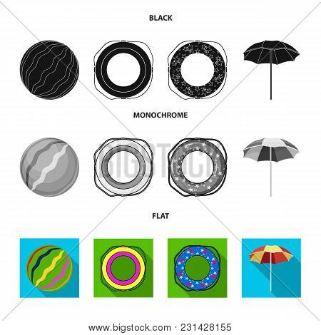 Multicolored Swimming Circle Black, Flat, Monochrome Icons In Set Collection For Design. Different L