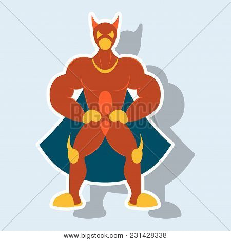 Man Superhero . Superhero Standing . Icon In Sticker Style