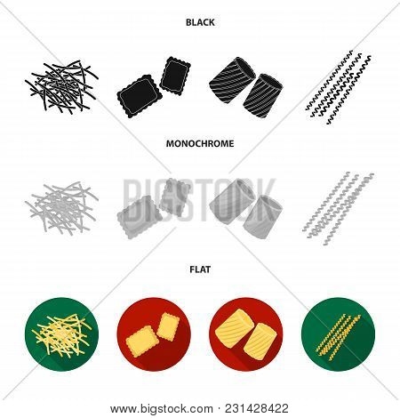 Different Types Of Pasta. Types Of Pasta Set Collection Icons In Black, Flat, Monochrome Style Vecto