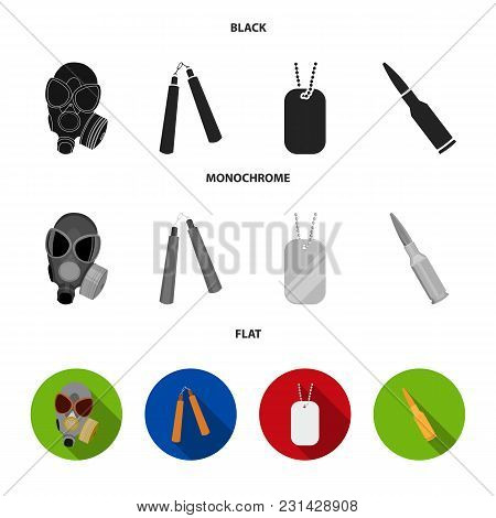 Gas Mask, Nunchak, Ammunition, Soldier Token. Weapons Set Collection Icons In Black, Flat, Monochrom