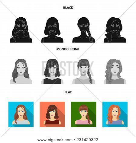 Types Of Female Hairstyles Black, Flat, Monochrome Icons In Set Collection For Design. Appearance Of