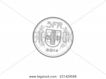 Vector File Of Five Swiss Francs Coin