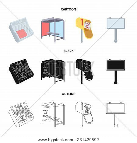 Newspapers, A Bus Stop, A Mail Box, A Billboard.advertising, Set Collection Icons In Cartoon, Black,