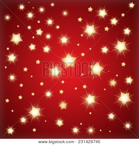 Golden Stars Creative Background. Artistic Vector Illustration