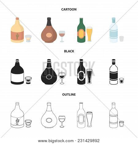 Tequila, Cognac, Beer, Vodka.alcohol Set Collection Icons In Cartoon, Black, Outline Style Vector Sy