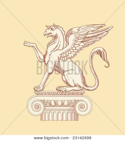 Griffin, seated on an Ionic column - hand draw sketch based