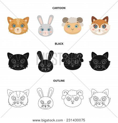 Cat, Rabbit, Fox, Sheep. Animal Muzzle Set Collection Icons In Cartoon, Black, Outline Style Vector