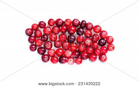 Cranberries Isolated On White Macro View. Red Ripe Detailed Forest Berries Cut Out Background. Up Vi