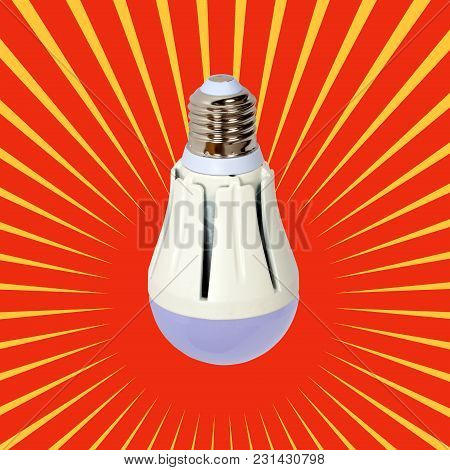 Economical Led Illuminated Lightbulb. Save Energy Lamp With E27 Socket