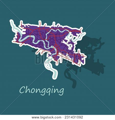Chongqing City Map . Vector Illustration. Simple Flat Concept For Tourism Presentation, Banner, Plac