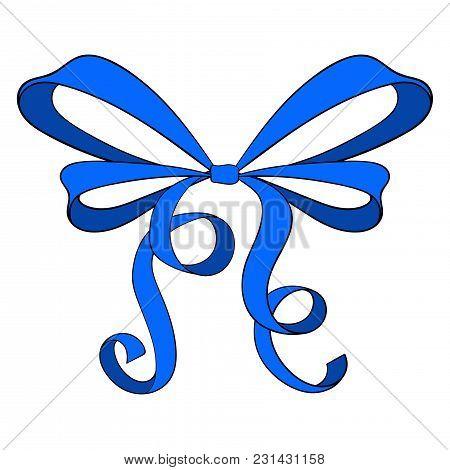 Blue Ribbon Bow. Vector Illustration Isolated On White Background