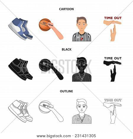 Basketball And Attributes Cartoon, Black, Outline Icons In Set Collection For Design.basketball Play