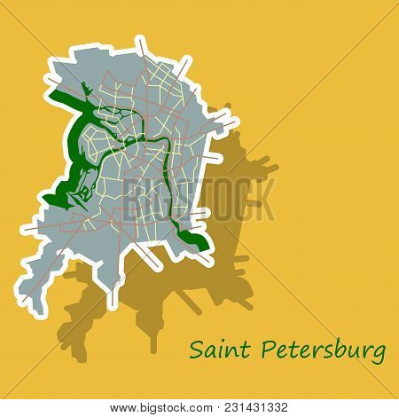Sticker Color Map Of The Centre Of St. Petersburg, Russia With Main Roads And Railways. All Objects