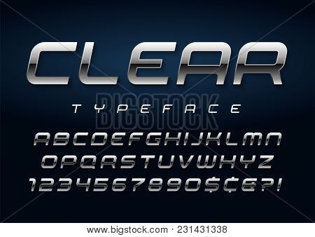 Vector Shiny Silver Display Font Design, Alphabet, Character Set, Typeface, Typography, Letters And