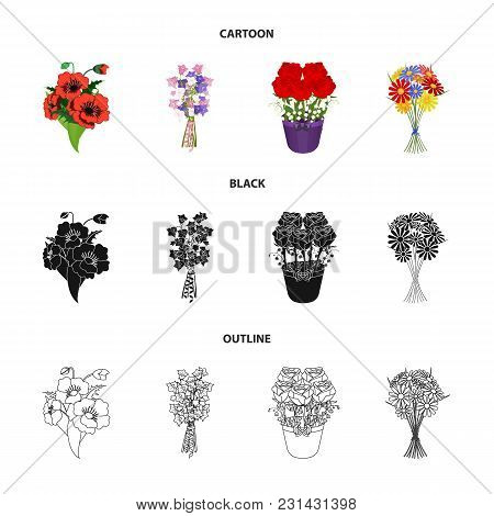 A Bouquet Of Fresh Flowers Cartoon, Black, Outline Icons In Set Collection For Design. Various Bouqu