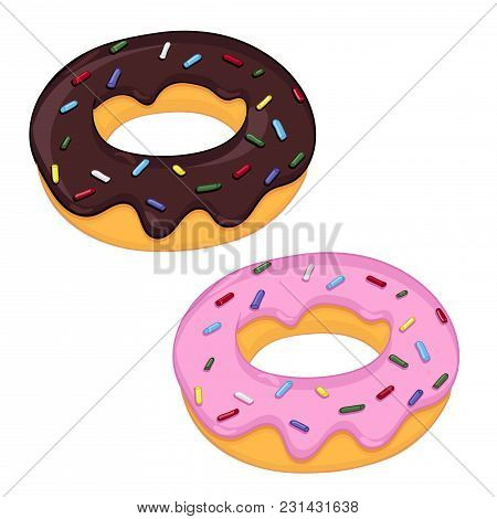Donuts. With Pink And Chocolate Frosting. Vector Illustration Isolated On White Background