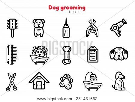 Set Of Dog Grooming Line Art Icons With Sign Of Dog, Bone, Clipper, Comb. Stylish Animal Equipment F