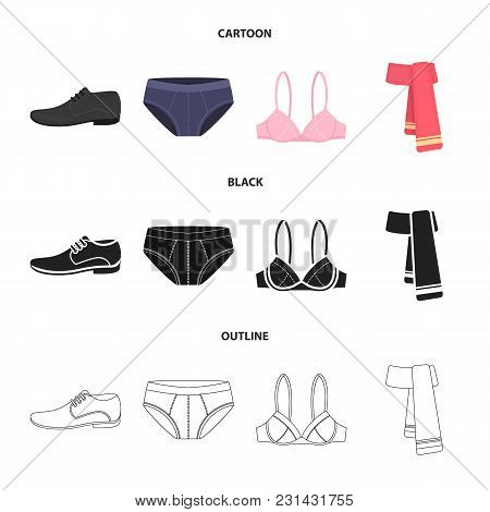 Male Shoes, Bra, Panties, Scarf, Leather. Clothing Set Collection Icons In Cartoon, Black, Outline S