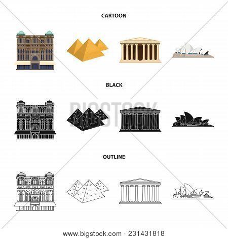 Sights Of Different Countries Cartoon, Black, Outline Icons In Set Collection For Design. Famous Bui