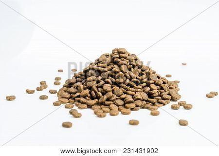 Dry Pets Cat, Dog Food On White Background.