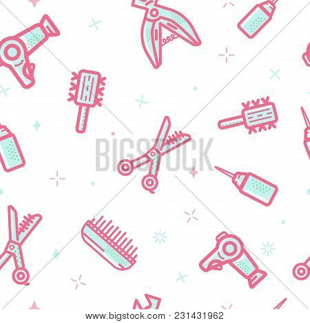 Beauty Salon Cosmetic Vector Seamless Pattern. Line Art Symbols For Fashion, Hairdressers. Women Ico