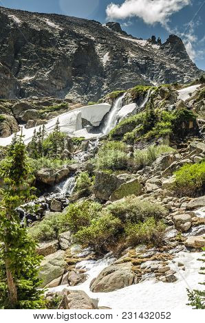 Timberline Falls Cascades Down From Sky Pond High In Rocky Mountain National Park