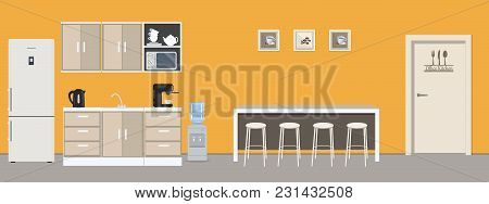 Office Kitchen In Yellow Color. Dining Room In The Office. There Is A Fridge, A Table, Chairs, A Mic