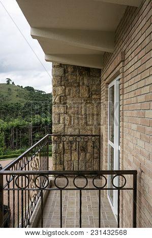 Balcony Rock Tiles Bricks Wall Mountain View Nobody